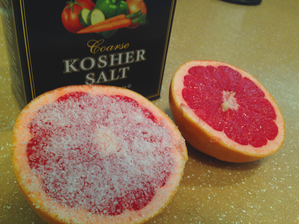 There Will Be Fruit All Over Your Shower After This, So Rinse Thoroughly.  The Citrus Is Great For Eating Away Any Calcium Buildup That May Be There!
